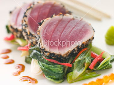 Sesame Seared Tuna w/ Sweet Soy Chilli Sauce |